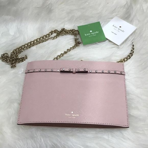 kate spade Handbags - Kate Spade ♠️ soft pink sima clutch Crossbody nwt
